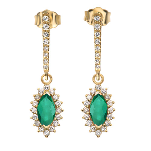 Diamond And May Birthstone LC Emerald Yellow Gold Elegant Earrings