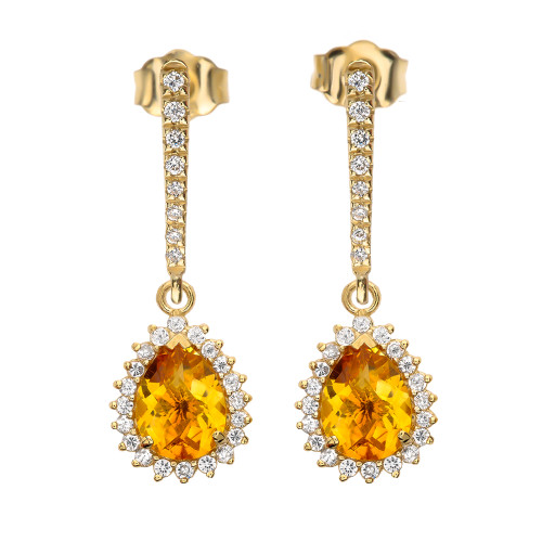 Diamond And Checkerboard Citrine Yellow Gold Elegant Earrings