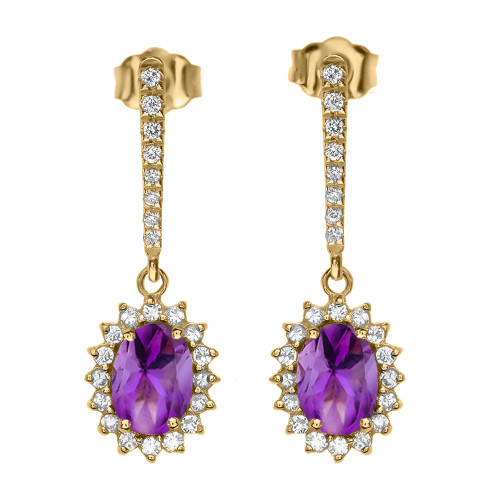 Diamond And Amethyst Yellow Gold Elegant Earrings