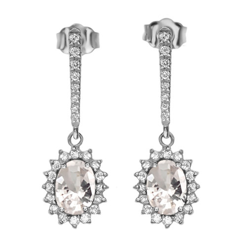 Diamond And April Birthstone CZ White Gold Elegant Earrings