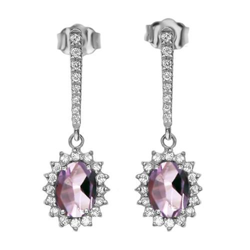 Diamond And June Birthstone CZ Alexandrite White Gold Elegant Earrings