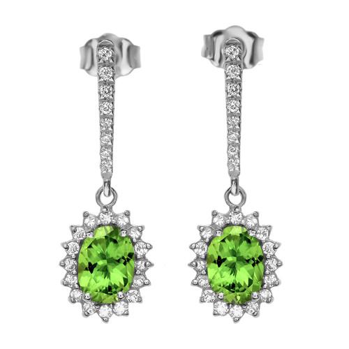 Diamond And Peridot White Gold Elegant Earrings