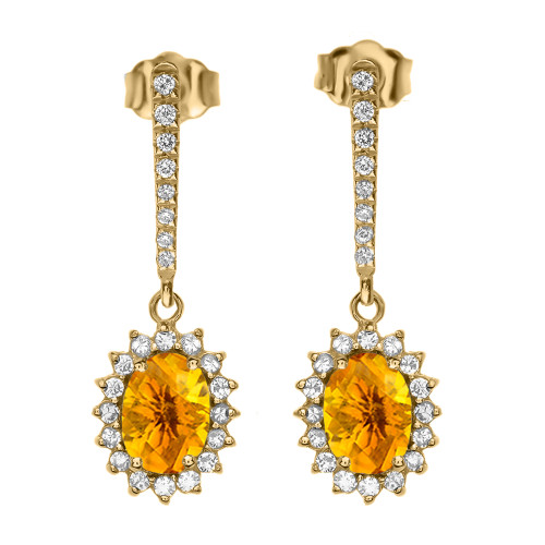 Diamond And Citrine Yellow Gold Elegant Earrings