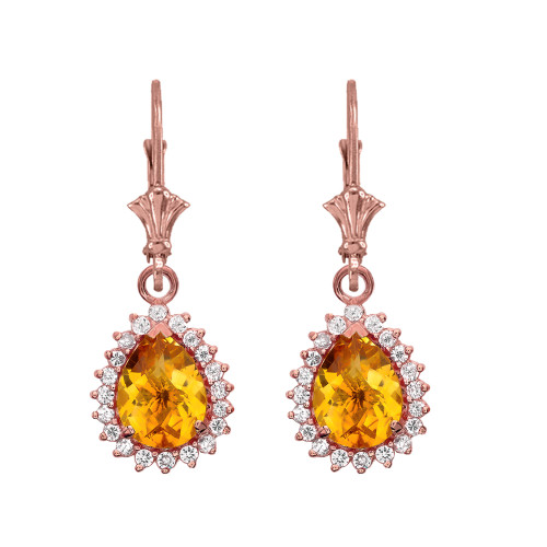 Diamond And Checkerboard Citrine Rose Gold Dangling Earrings