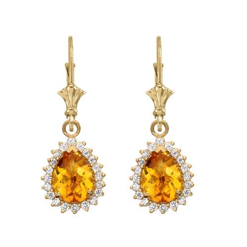 Diamond And Checkerboard Citrine Yellow Gold Dangling Earrings