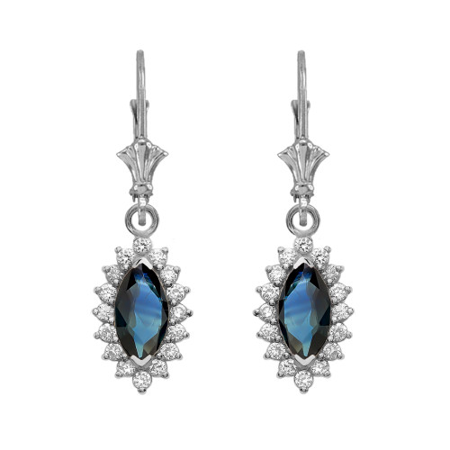 Diamond And Sapphire White Gold Dangling Earrings