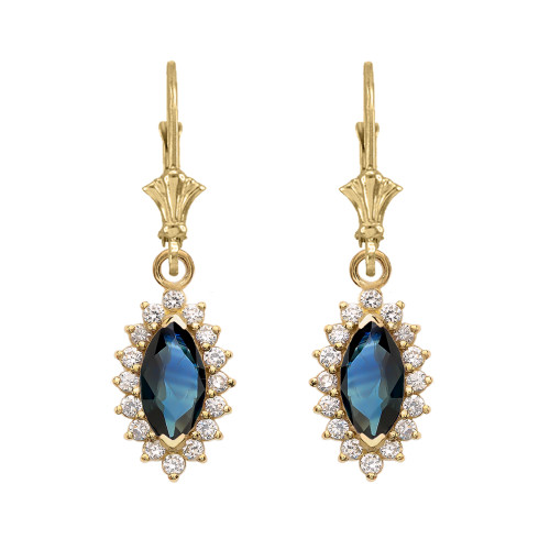 Diamond And Sapphire Yellow Gold Dangling Earrings