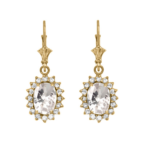 Diamond And April Birthstone CZ Yellow Gold Dangling Earrings