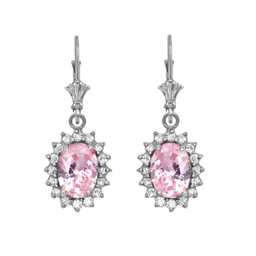 Diamond And October Birthstone Pink CZ White Gold Dangling Earrings