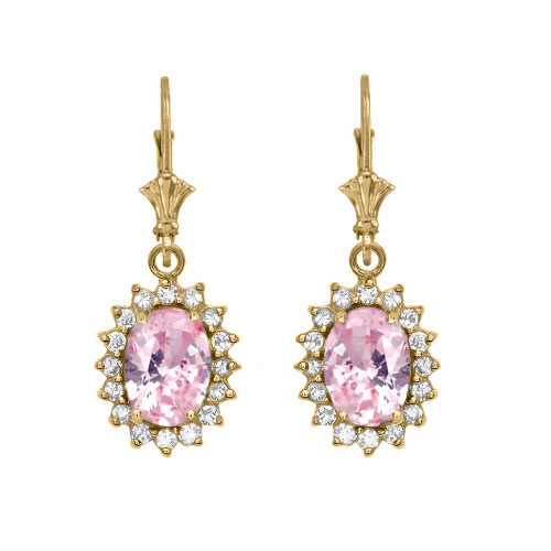 Diamond And October Birthstone Yellow CZ Rose Gold Dangling Earrings