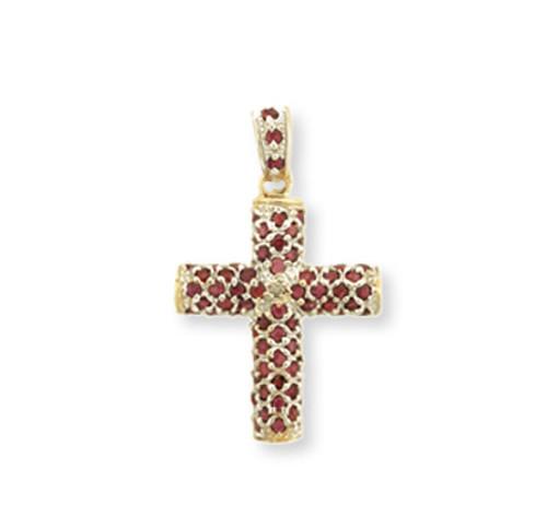 Yellow Gold Ruby Cross Pendant