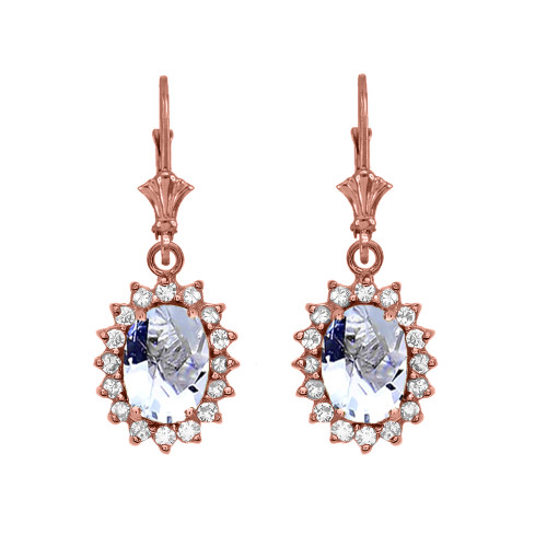 Diamond And March Birthstone Aquamarine Rose Gold Dangling Earrings