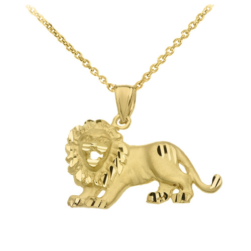 Satin Finish Diamond Cut Gold Roaring Lion Charm Pendant Necklace