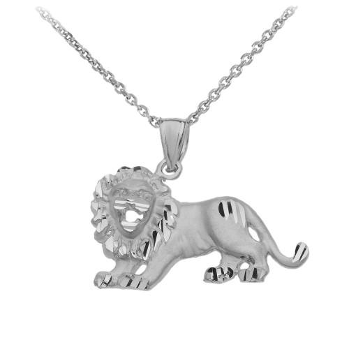 Satin Finish Diamond Cut White Gold Roaring Lion Charm Pendant Necklace