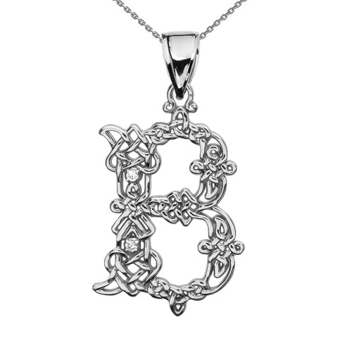 """""""B"""" Initial In Celtic Knot Pattern Sterling Silver Pendant Necklace With Diamond"""