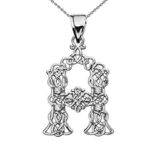 """""""A"""" Initial In Celtic Knot Pattern Sterling Silver Pendant Necklace With Diamond"""