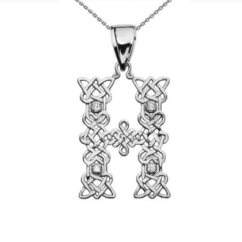 """""""H"""" Initial In Celtic Knot Pattern Sterling Silver Pendant Necklace With Diamond"""