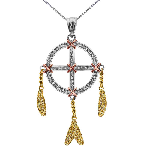 Gold And Diamond Dream Catcher Pendant Necklace