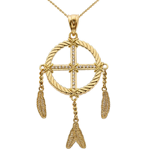 Dream Catcher Yellow Gold And Cubic Zirconia Pendant Necklace