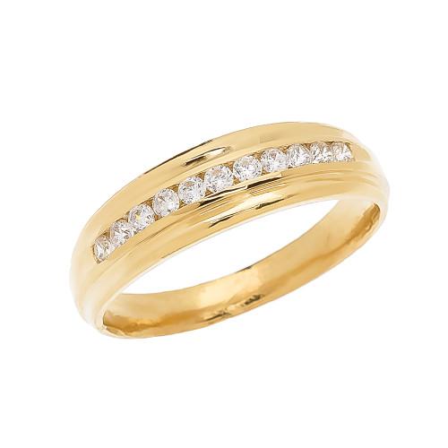 Channel-Set Diamond Yellow Gold Men's Wedding Ring