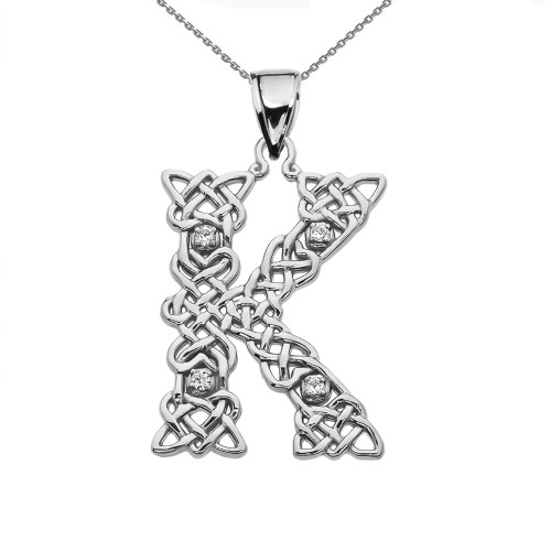 """""""K"""" Initial In Celtic Knot Pattern Sterling Silver Pendant Necklace With Diamond"""
