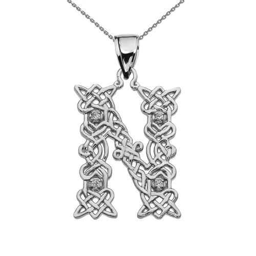 """""""N"""" Initial In Celtic Knot Pattern Sterling Silver Pendant Necklace With Diamond"""
