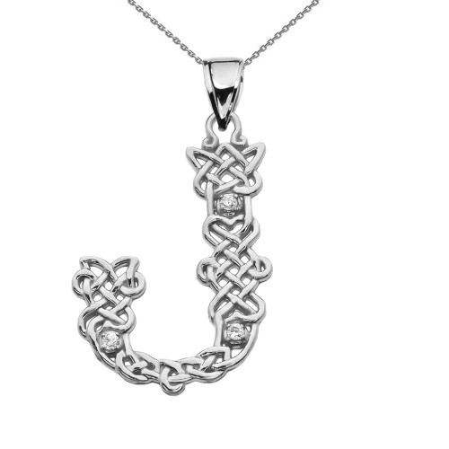 """""""J"""" Initial In Celtic Knot Pattern Sterling Silver Pendant Necklace With Diamond"""