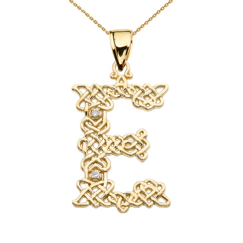 """""""E"""" Initial In Celtic Knot Pattern Yellow Gold Pendant Necklace With Diamond"""
