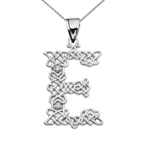 """""""E"""" Initial In Celtic Knot Pattern Sterling Silver Pendant Necklace With Diamond"""