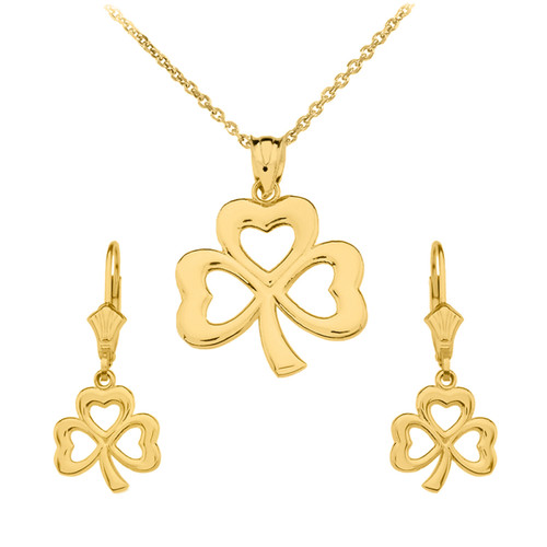 14K Yellow Gold Polished Lucky Shamrock Necklace Earring Set