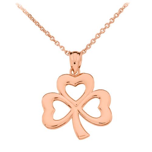 Rose Gold Polished Lucky Shamrock Pendant Necklace