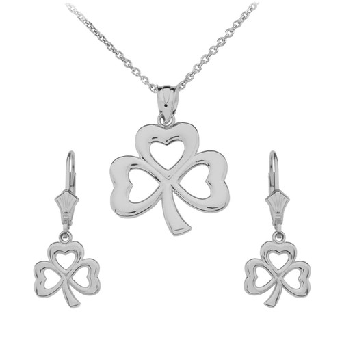 14K White Gold Polished Lucky Shamrock Necklace Earring Set
