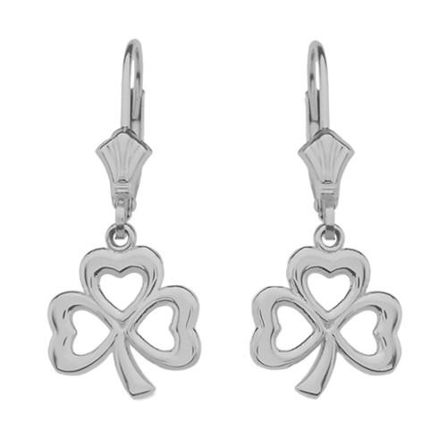 14K White Gold Polished Lucky Shamrock Earrings