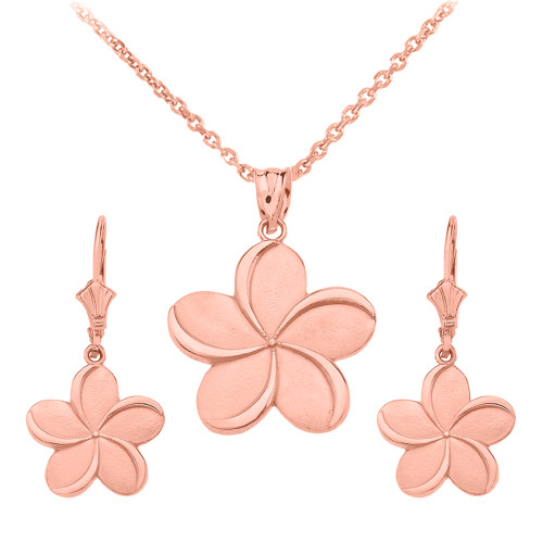 14K Rose Gold Hawaiian Plumeria Flower Necklace Earring Set