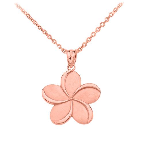 Rose Gold Hawaiian Plumeria Flower Pendant Necklace