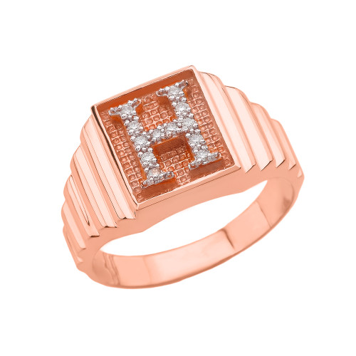 Rose Gold Diamond Initial H  Ring