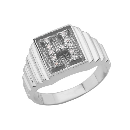 White Gold Diamond Initial H  Ring