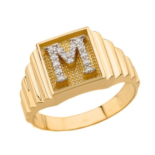 Yellow Gold Diamond Initial M Ring