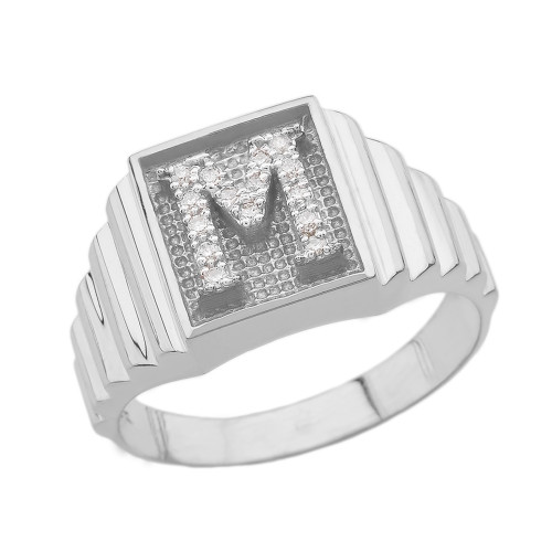 White Gold Diamond Initial M Ring