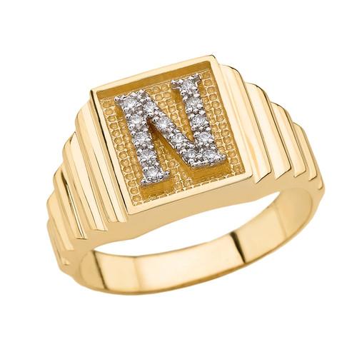 Yellow Gold Diamond Initial N Ring