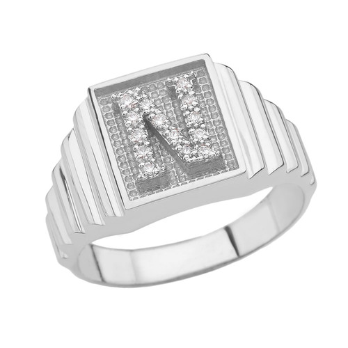 Sterling Silver Diamond Initial N Ring