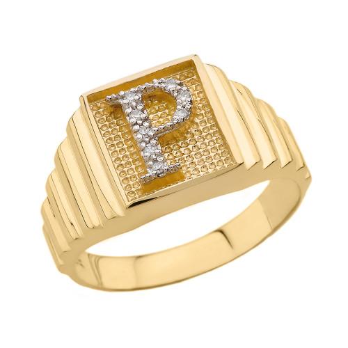 Yellow Gold Diamond Initial P Ring