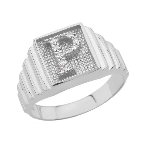 Sterling Silver Diamond Initial P Ring