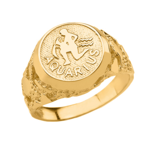 Yellow Gold Aquarius Zodiac Sign Nugget Ring
