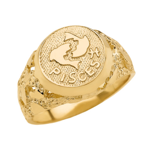 Yellow Gold Pisces Zodiac Sign Nugget Ring