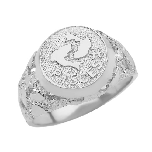 White Gold Pisces Zodiac Sign Nugget Ring
