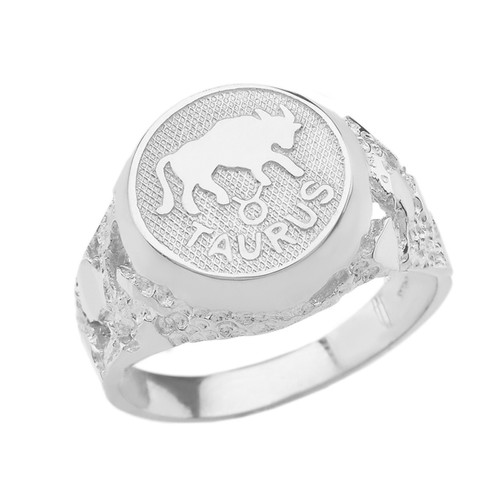 White Gold Taurus Zodiac Sign Nugget Ring