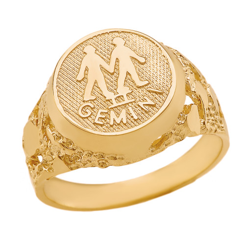 Yellow Gold Gemini Zodiac Sign Nugget Ring
