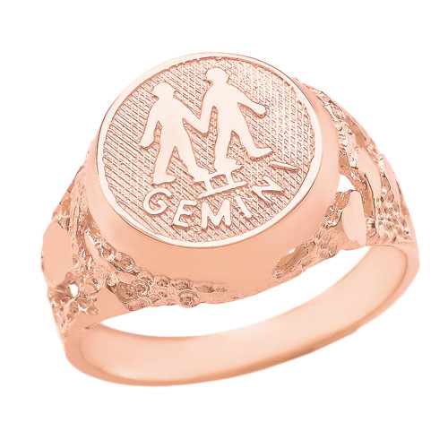 Rose Gold Gemini Zodiac Sign Nugget Ring