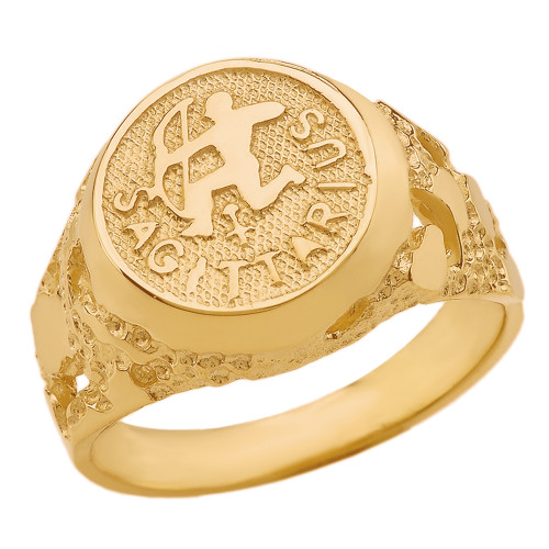 Yellow Gold Sagittarius Zodiac Sign Nugget Ring